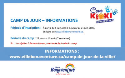 Inscriptions camp de jour