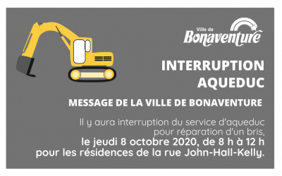 Interruption d'aqueduc rue John-Hall-Kelly