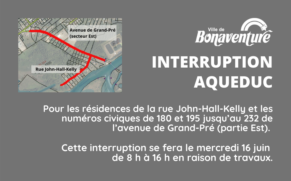 INTERRUPTION DU SERVICE D'AQUEDUC